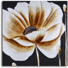 'Coffee and White Poppy' Original Painting on Wrapped Canvas