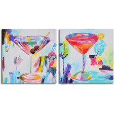 'Confetti Cocktails' 2 Piece Original Painting on Wrapped Canvas Set