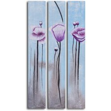'Lavender Poppies in White' 3 Piece Original Painting on Wrapped Canvas Set