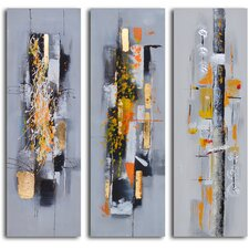 Amber Chaos Finding Form 3 Piece Original Painting on Wrapped Canvas Set