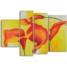 'Consultation of Amber Lilies' 4 Piece Original Painting on Wrapped Canvas Set