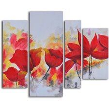 'Enflamed Red Petals' 4 Piece Original Painting on Wrapped Canvas Set