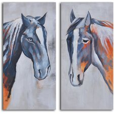 'Colt and Mare' 2 Piece Original Painting on Wrapped Canvas Set