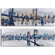 'City Suspensions' 2 Piece Original Painting on Wrapped Canvas Set