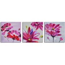 'Frenzy of Fuchsia Floral' 3 Piece Original Painting on Wrapped Canvas Set