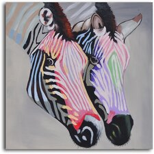 'Pastel Zebra Duo' Original Painting on Wrapped Canvas