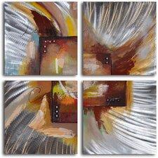 'Four Square Steel Splash' 4 Piece Original Painting on Wrapped Canvas Set