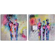 'Kaleidoscope Figurines' 2 Piece Original Painting on Wrapped Canvas Set
