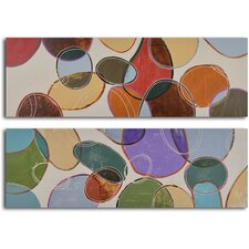 'Colored Cells at Play' 2 Piece Original Painting on Wrapped Canvas Set