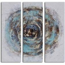 'Marble Blue Chasm' 3 Piece Original Painting on Wrapped Canvas Set