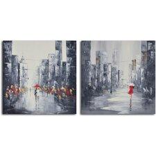 'City Puddles Scape' 2 Piece Original Painting on Wrapped Canvas Set