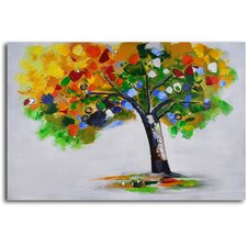 'Bejeweled Papered Tree' Original Painting on Wrapped Canvas