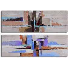 Urbanization Abstraction 2 Piece Original Painting on Wrapped Canvas Set