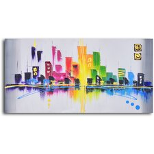 Rainbow City Scape Original Painting on Wrapped Canvas