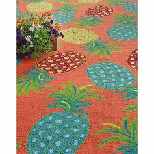 Pineapples Coral Area Rug