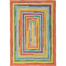 Concentric Orange/Green Striped Area Rug