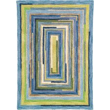 Concentric Sky Blue Striped Area Rug