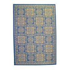 Patchwork Floral Blue Area Rug