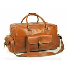 "21"" Leather Carry-On Duffel with Top Zipper Closure"