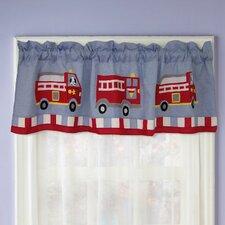 "Cotton Fire Truck 70"" Curtain Valance"