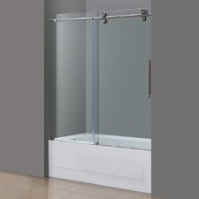 "Langham 60"" x 60"" Completely Frameless Tub-Height Sliding Shower Door"