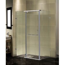 "Semi-Frameless 48"" x 35"" x 75"" Rectangular Pivot Shower Enclosure"