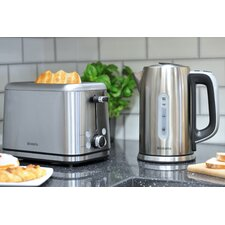 2 Slice Toaster and Kettle Breakfast Set with Digital Temperature Control