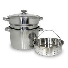 4 Piece 8 Qt. Stainless Steel Multi-Cooker Set