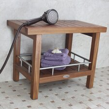 Teak and Stainless Steel Spa Bench with Shelf