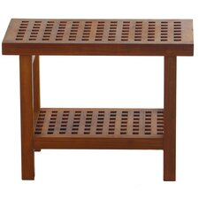 Grate Teak Shower Bench with Shelf