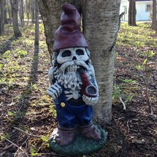 Skeleton Man Gnome with Pipe Statue