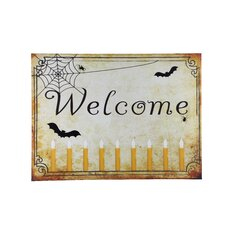 Welcome Halloween Lit' Graphic Art on Canvas