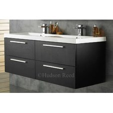 Quartet 144cm Wall Mounted Double Basin Vanity Unit with Storage Cabinets