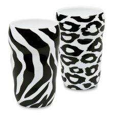 Zebra and Leopard Double Walled 2 Piece Mug Set