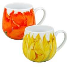 Poppy and Sunflower Blossoms Snuggle 12 oz. Mugs (Set of 2)
