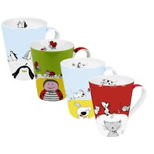 Assorted Globetrotter 13 oz. Mugs 4 Piece Set