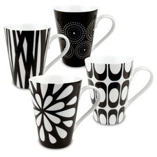 Black & White Assorted Mugs 4 Piece Set