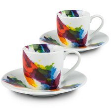 On Color-Flow Espresso Cups and Saucers (Set of 2)