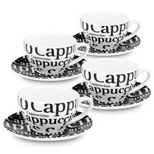 Coffee Bar 8 Piece Coffee Cup and Saucer Set