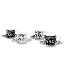 Assorted Espresso Writing Cup and Saucer (Set of 4)