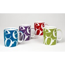 Script Collage Assorted Primary Colors Coffee Mugs (Set of 4)