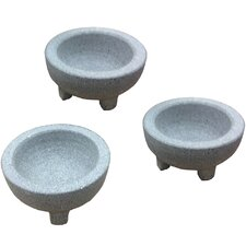 GlobalKitchen Mini Granite Molcajete Condiment Server (Set of 3)