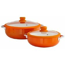 2-Piece Aluminum Round Casserole Set with Lid