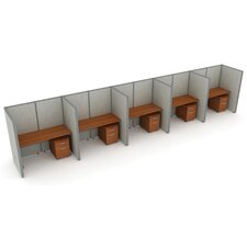 X5 Privacy Station Panel System 1x5 Configuration