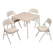 "5 Piece 34"" Square Folding Table Set"