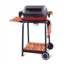 Easy Street Electric Cart Grill with Folding Side Tables, Shelf, and Rotisserie
