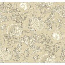 "Nautical Living Coral Shells 33' x 20.5"" Botanical Wallpaper"
