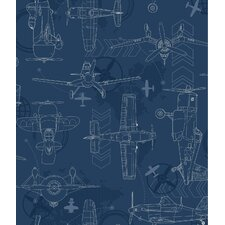 "Walt Disney Kids II Blueprint Planes 33' x 20.5"" Wallpaper"