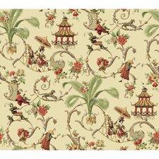 "Waverly Mandarin Prose 27' x 27"" Scenic Wallpaper"