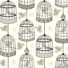 "Black and White Birdcage 27' x 27""  Wildlife Wallpaper Roll Wallpaper"